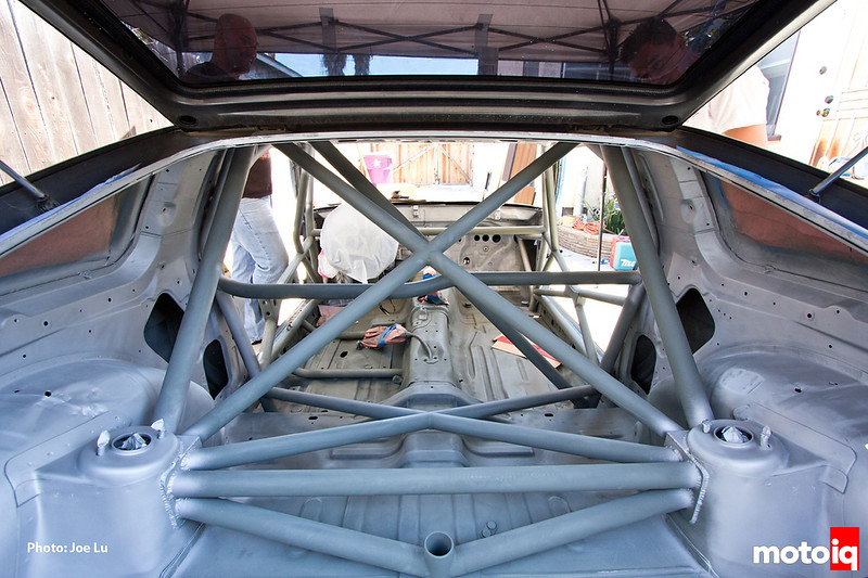 Project LSR interior painted with roll cage