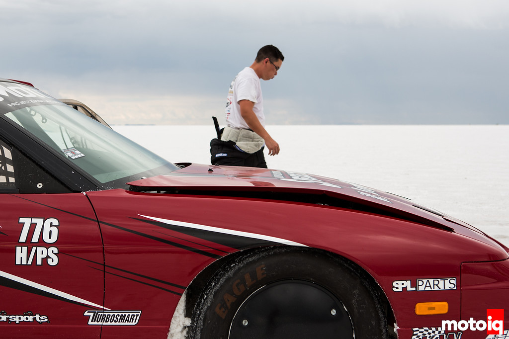 Chuck Johnson Project LSR 240sx after spin at Bonneville